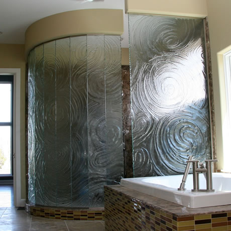 Cast Glass Enclosures Multi Panel Storm Cast Glass Walk-In Shower